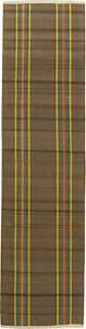 Vintage Rag Brown, Orange and Yellow Striped Handwoven Wool Rug BB6165