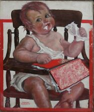 FRANK FOGARTY-NY Illustrator-Original Signed Oil-Baby with Notebook Paper
