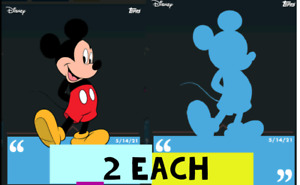 Topps Disney Collect MICKEY DAILY MAY 14.    2 SILHOUETTE And 2 COLOR
