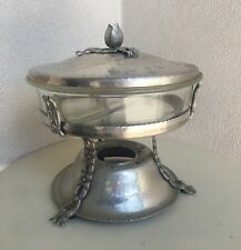 Vintage Portable Food Warmer Chafing Stand Hammered Aluminum Pyrex Dish By Kent