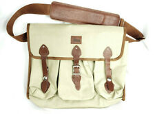 Vintage Leica Bag Beige Canvas with Leather Strap Closures and Shoulder Pad