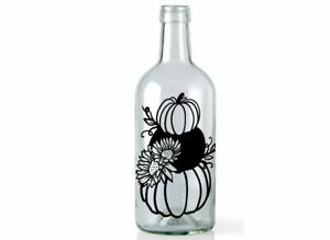 Halloween Wine Light Bottle Vinyl Decal Sticker Pumpkin Fall Table Decoration