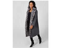 Helene Berman Faux Fur Collar Coat Snow Leopard Size 12 BNWT