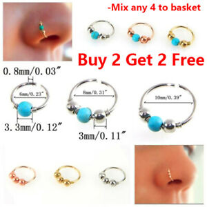 Nose Ring Nose Lip Hoop With Ball Cartilage Tragus Ear Piercing Surgical Steel
