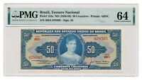 BRAZIL banknote 50 Cruzeiros 1956 PMG MS 64 Choice Uncirculated