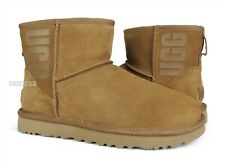 UGG Classic Mini UGG Rubber Logo Chestnut Suede Fur Boots Womens Size 7 *NIB*