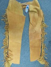 NEW SUEDE CHAPS W/FRINGE SIZE MD RAJ INTERNATIONAL FINE QUALITY SADDLERY
