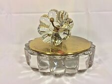 2nd Vintage Heisey Crystal Box Brass Like Lid with Figural Flower Topper
