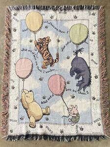 Winnie the Pooh Tapestry Baby Blanket Disney Cotton Tigger Piglet Eeyore 36x48