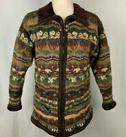 Icelandic Design Wool Sweater Jacket L Brown Green Lined Velour Ribbed Pockets