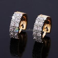 Fashion Men womens Gold Plated Zircon Cryatal Ear Hoop Huggie Studs Earrings New