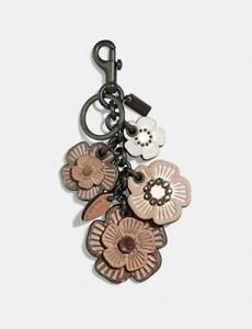 Coach Crystal Tea Rose Cluster Floral Mix Bag Charm Nude Pink 35446 NWT