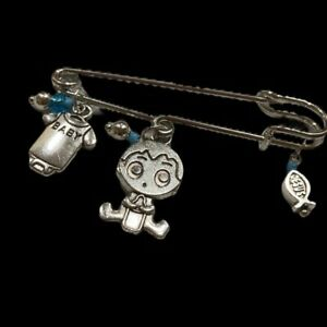 Baby Announcements boy celebrate  brooch pin silver