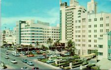 FL Postcard Miami Florida Gay and Luxurious Hotels along Collins Ave Old Cars St
