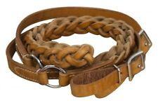 Showman Braided Argentina Leather Roping Barrel Racing Contest Reins 7' Long