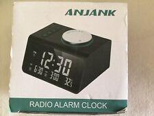ANJANK  Alarm Radio Clock Dual Alarms USB Ports Headphone Jack Temp Display