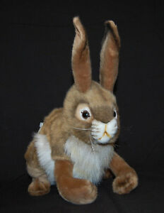 "Brown Jack Rabbit Hansa White Black Tail Poseable NWT Lifelike Plush 14"" Toy"