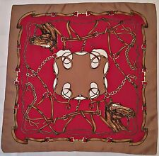 "VINTAGE AUTHENTIC HORSE HEADS HARNESSES RED BROWN 26"" SQUARE SCARF"