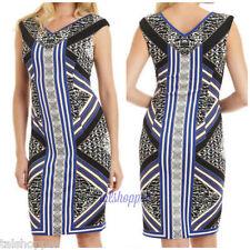 Maggy London V Neck Scuba Sheath Geometric Graphic Print Dress NWT $139 12