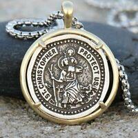 Heavy Saint St Christopher Medal Handmade Travelers Pendant Necklace Box Chain