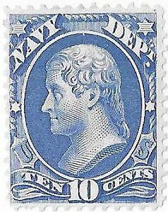 US Official Stamp. Navy Dept. 10 Cents.Scott# O40. Mint No Gum.