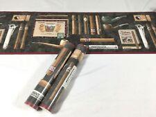 Wallpaper Border BLACK BURGUNDY Pipe tobacco Tobacciana Scene Cigar 2 Roll Lot