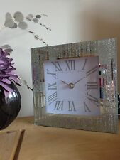 Stunning Glass Mirrored Silver Glitter Mantel Clock/Birthday/Christmas Present