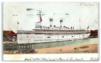 1906 SS Theodore Roosevelt in Harbor, Michigan City, IN Postcard
