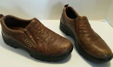 ROPER CASUAL SPORT FAUX OSTRICH QUILL SZ 7.5 BROWN LEATHER SLIP ON LOAFER SHOES