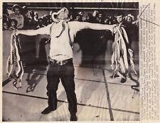 RATTLESNAKE ROUNDUP ~ MAN HOLDING 40 SNAKES ~ BALLINGER TEXAS