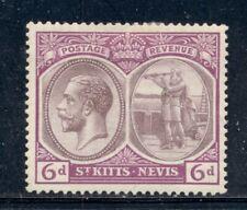 ST. KITTS-NEVIS 47 SG46 MH 1924 6p purple KGV Wmk Mult Crown CA Cat$9