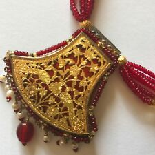 Vintage Pratapgarh enamel Thewa Work Gold Gilt Silver Peacock Pendant Necklace