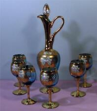 Murano Venetian GLASS Wine Decanter - 6 Goblet Set Blue / Gold Gilt SirH70