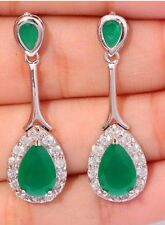 STUNNING Elegance Emerald Green & Sim Diamond Crystal Dangle Earrings Silver