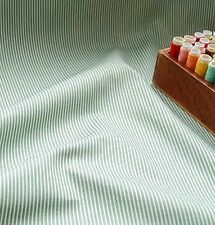 100% Cotton Fabric Olive Green/ White Thin Stripes by the METRE #009