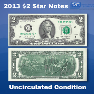 ✯One 2013 $2 DOLLAR BILL Star Replacement Notes, B*(New York), Scarce, UNC