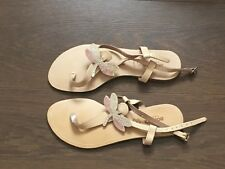 Adam's Shoes Ladies Beige Butterfly Flat Ankle Strap Sandals UK Size 38