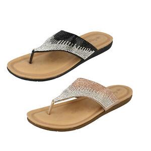 Femmes Savannah Collection Strass Slip Entredoigt Sandales Tongs F0R0219