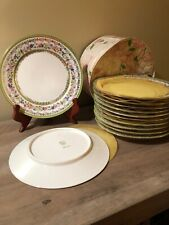 VTG Saxe Porcelain 12 Dessert Plates Floral+Gold Trim C A R Crown Stamp, Carrier