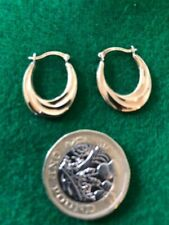 Vintage Gold On Silver Hallmarked Creole Pierced Earrings