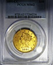 1891-CC GOLD $10 LIBERTY HEAD EAGLE PCGS MS62. ONLY 103,732 MINTED!
