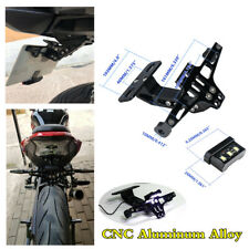 Black CNC Aluminum Alloy Motorcycle License Plate Holder Tail Light LED Bracket