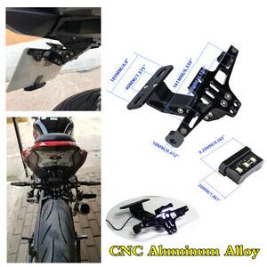 Black CNC Aluminum Alloy Motorcycle License Plate Holder Tail Light LED Bracket