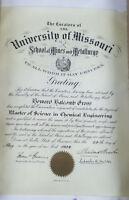 1928 UNIVERSITY OF MISSOURI MASTER OF SCIENCE DEGREE DIPLOMA  RARE