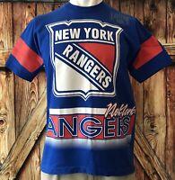 New York Rangers Men's XL Tshirt Vintage 90's NHL Hockey Blue All Over 2 Sides