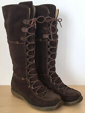 TIMBERLAND Womens Brown Suede Leather Lace Up Knee High Fleece Lined Boots 7.5