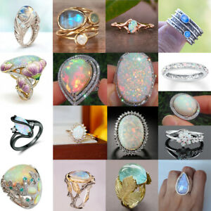 Elegant 925 Silver Moonstone Ring Women Wedding Opal Jewelry Gift Size 5-10