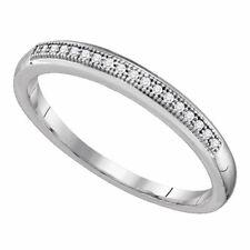 10k White Gold Round Diamond Womens Bridal Wedding Anniversary Band 1/20 Cttw
