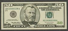 1996 $50 FRN FEDERAL RESERVE NOTE * CLEVELAND AD10350108A Lot#CA117