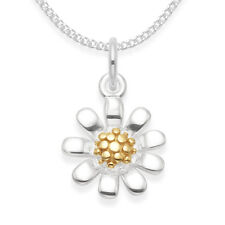 Sterling Silver 11 mm Sunflower Pendant Gold plate center and Chain - Gift boxed